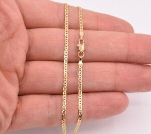 "2mm 10"" Mariner Anchor Link Chain Anklet Ankle Real Solid 10K Yellow Gold 1.60gr"