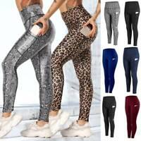 Womens High Waist Yoga Pants Pocket Leggings Fitness Gym Sports Running Stretch