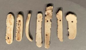 Taino. 7 Shell Pendants Or Dangles For A Necklace, Some Human Silhouettes