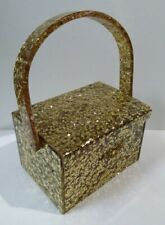 WILARDY RARE VINTAGE EMBEDDED GOLD STARS CLEAR LUCITE PURSE W/ BUILT IN COMPACT