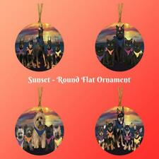 Family Sunset Dog Cat Round Flat Ornament, Pet Photo Christmas Tree Hanger