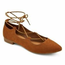 Mossimo Brown Kady Pointed Toe Lace Up Ballet Flats 8