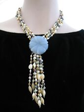 Handmade Sterling Silver Blue Natural stone &   Fresh Water Pearls Necklace