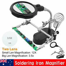 Soldering Iron Stand Holder Solder Third Hand Station Magnifier Helping Tool Kit