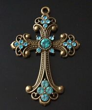 1 extra large strass CHARME ANTIQUE BRONZE CROSS PENDENTIF 75mm (tsc96)