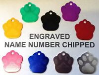 Luxury Paw Print Engraved Dog Pet id Tag ALL COLOURS AVAILABLE Phone Name cat C
