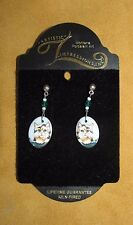 """Beautiful"" Calico Cat - Porcelain Earrings ""New"" - Made in Montana"