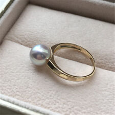cute 8-8.5mm round Akoya silver gray blue pearl ring 18k yellow gold