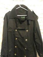 Lauren Ralph Lauren Mens  Double Breasted Trench Coat Black 44R Cotton Blend