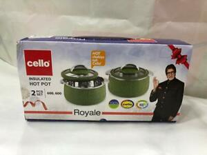 Cello Royale Combo of 2 Casseroles with Insulated Stainless Steel and Glass Lid,