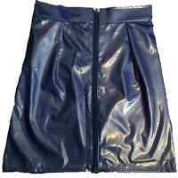 """PVC Purple Mini Skirt Size 6 with Front Zip Zipper Waist 23"""" length 16 inches"""