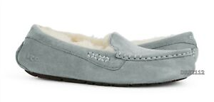 UGG Ansley Light Grey Suede Fur Slippers Womens Size 6 *NEW*