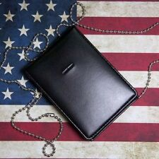 Leather Badge ID Card Wallet Holder Case With Neck Chain Black