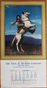 Pinup Cowgirl 1951 13x24 Poster/Advertising Calendar-Woman & Horse- Rarin' to Go