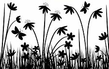 Framed Print - Abstract Black and White Flowers with Butterflies (Picture Art)