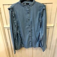 New Marks & Spencer Light  Denim Ruffle Shirt Holly Willoughby Collection 8-20