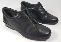 sandpiper black leather flat shoes uk 6 eu 39