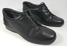 sandpiper black leather flat shoes uk 6 eu 39
