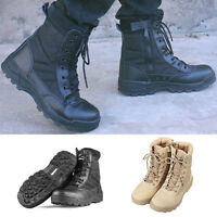 Mens Leather Military Army Tactical Combat Boots Outdoor Hiking Hunting Shoes