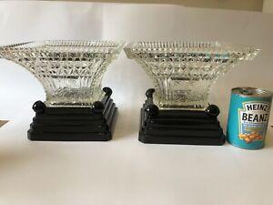 A Pair Of Pressed Century Edmonton Glass Vases Black Glass Stands Art Deco 1920s