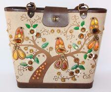 "Vtg Enid Collins of Texas ""Sittin in a Treetop"" Jeweled Birds Purse Handbag Tote"