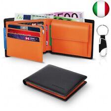 Portafoglio Uomo Slim Trifold Vera Pelle Blocco RFID, con Tasca Portamonete,2