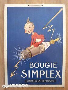 Ancienne affiche cartonné bougie simplex plaque émaillée garage bidon moto