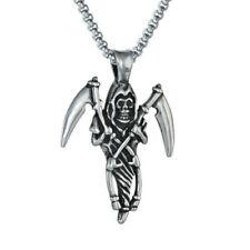 Stainless Steel Death Skull Grim Reaper's Scythe Pendant Necklace
