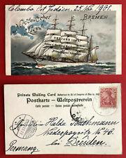 Reklame Litho AK NORDDEUTSCHER LLOYD 1901 Segelschiff mit Seepost Stempel( 74372