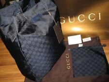New Gucci 281487 Dark Blue Nylon GG Parkway Carry All Purse Bag Tote W/Pouch