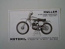 advertising Pubblicità 1974 MOTO MULLER 50 GTC CROSS COMPETIZIONE COPPA ITALIA