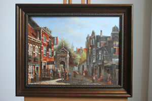 "Oil on board framed famous paintings landscape old building street 12""x16"""