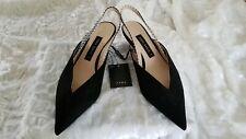 Zara Slingback Pointed Black Suede Kitten Heels Silver Detail Shoes US5/EU36