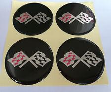 "CORVETTE STYLE Black CROSSED FLAG Wheel Center Cap STICKER EMBLEM 2 1/2"" Set"