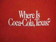"Vintage ""Where is Coca-Cola, Texas?"" Souvenir Red T Shirt XL"