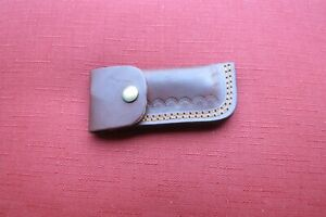 Large Damascus folding blade knife black horn Stocks leather sheath handmade