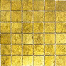 Glasmosaik uni gold Struktur Fliesenspiegel Küche Wand Art: 120-0746 | 10 Matten