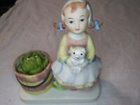Vintage Collectible W.A. Porcelain Girl and Pig Figurine with Artichoke Candle