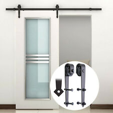 GOSO Sliding Barn Door Hardware Kit 6.6 ft (2 m) Solid Steel Rail, Arrow Design