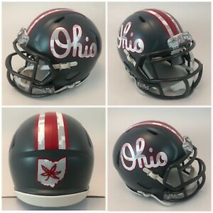 Ohio State Buckeyes Satin Gray Script Riddell Revo Speed Mini Football Helmet