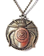 STEAMPUNK BEETLE NECKLACE bronze & copper gear cog pendant insect necklace Z6