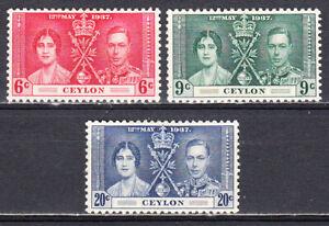 CEYLON 1937 KGVI CORONATION ISSUE SCOTT 275-277 MLH