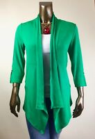 CHICO'S $117 NEW TRAVELERS GREEN BAMBOO TRIM JACKET/CARDIGAN SIZE 2 ( L )