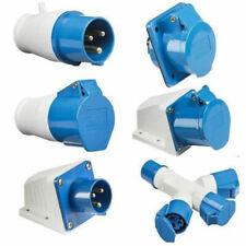 BLUE 240V 16 AMP 3 PIN INDUSTRIAL SITE PLUG & SOCKETS IP44 2P+E MALE/FEMALE