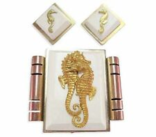 VINTAGE JEAN PAINLEVE SEAHORSE EARRINGS BROOCH CLIP PIN FRENCH BAKELITE GALALITH