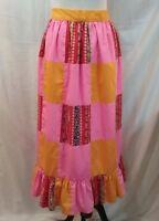 Vintage Cotton Patchwork Apron Bright Colors Long Prairie Style