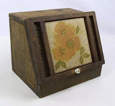 Antique Wood & Tile Floral Bread Box Kitchen Food Storage Home Counter top Decor