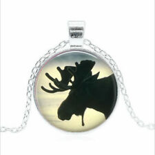 dome Necklace chain Pendant Wholesale Moose Silhouette Tibet silver Glass