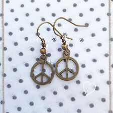 Orecchini Pace Peace Earrings Bronze Cute Vintage Hipster Indie Punk Rock Love