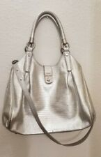 Brahmin Elisa Pharoah Lizard Print Leather Satchel Shoulder Bag silver